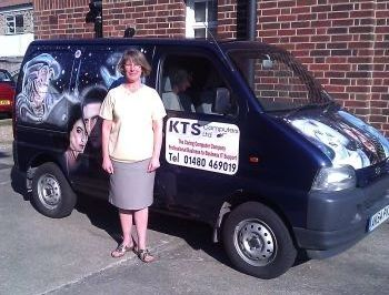 Christine Seymour, co-director of KTS Computers, by their company van