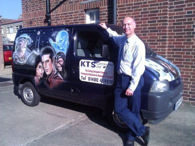 Ken Seymour, director of KTS Computers, by their company van